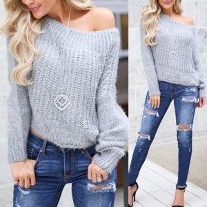 SCHEANA Fuzzy Sweater Top